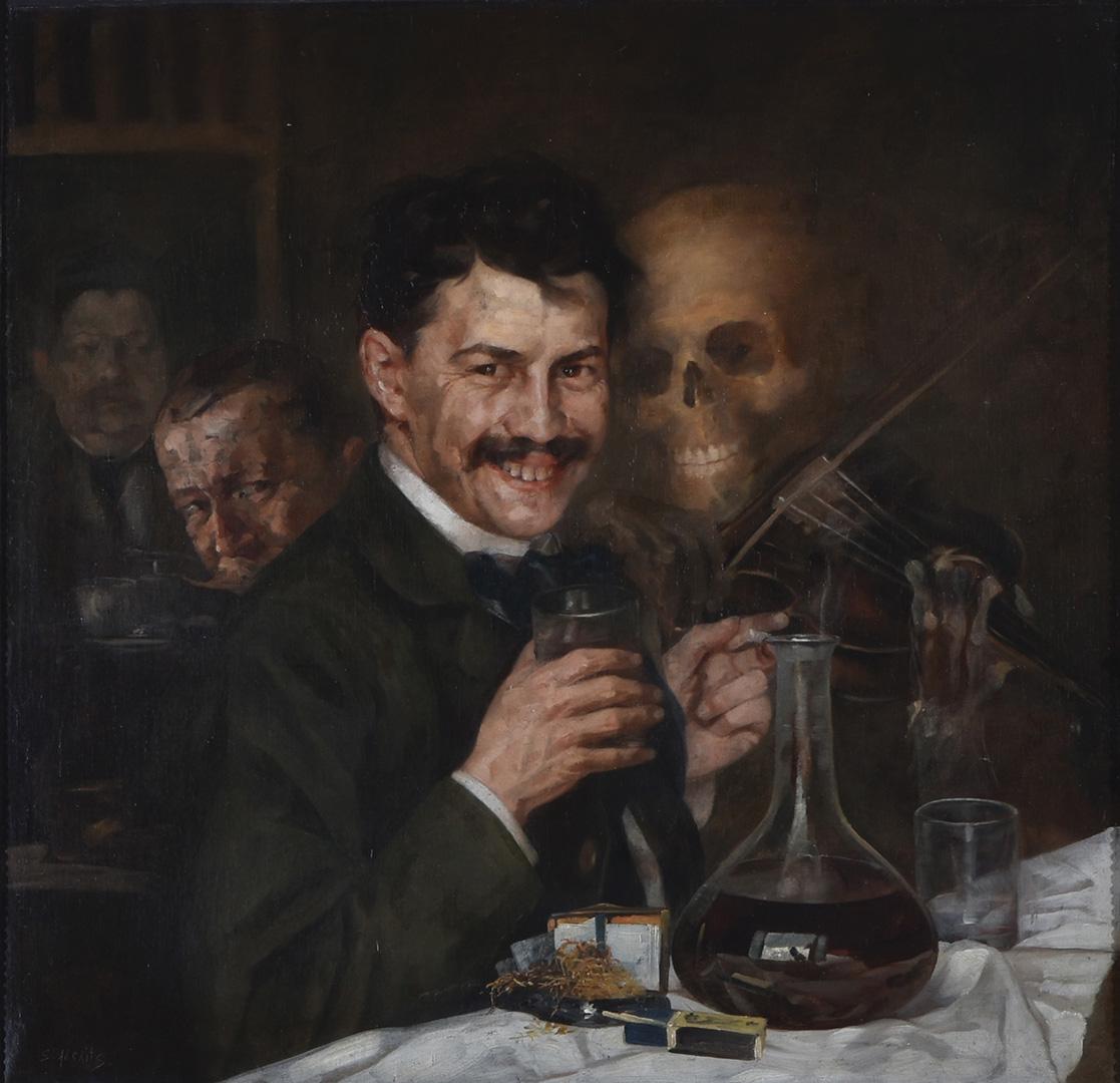 Стеван Aлексић, Аутопортрет у кафани, око 1904.