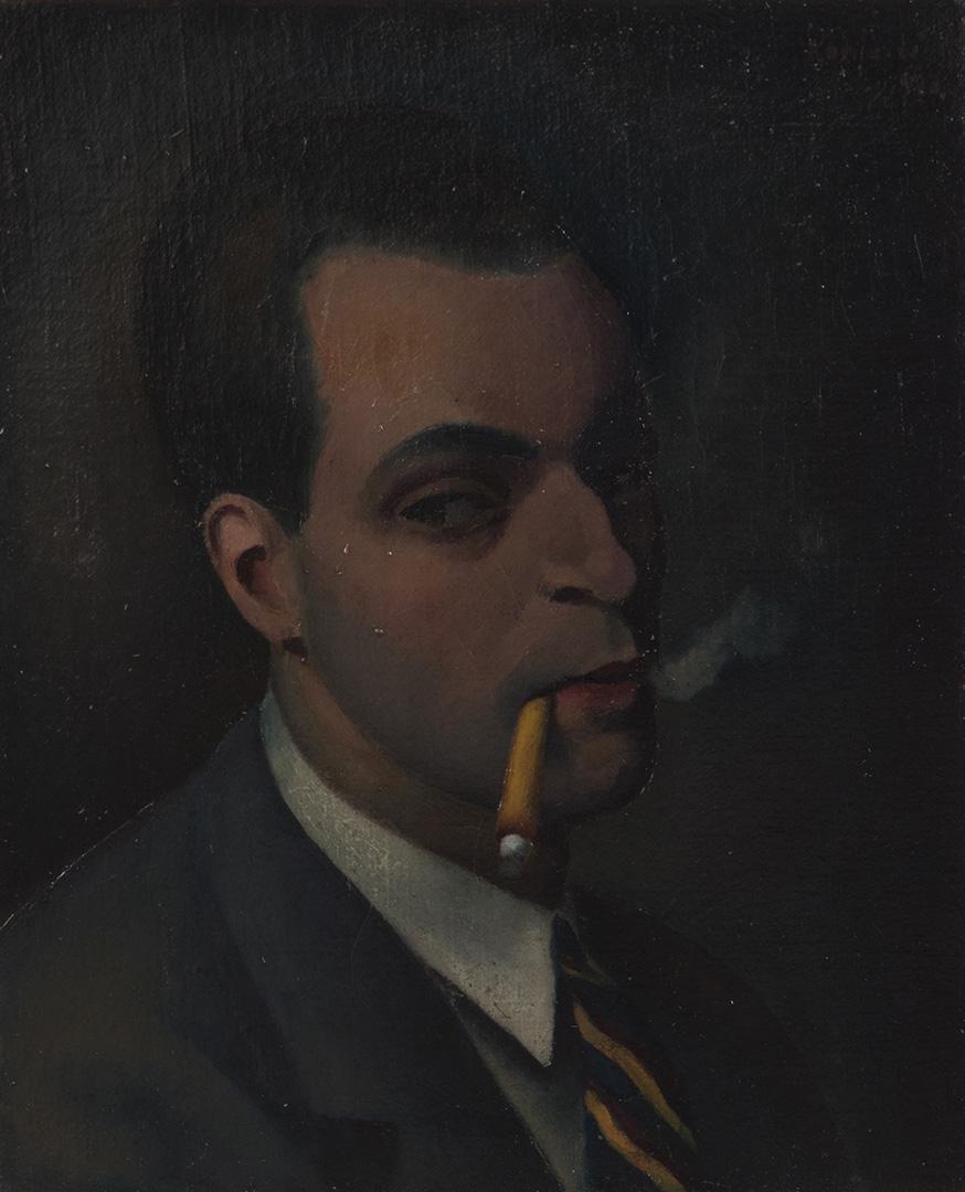Милан Коњовић, Аутопортрет с цигаретом, 1923.